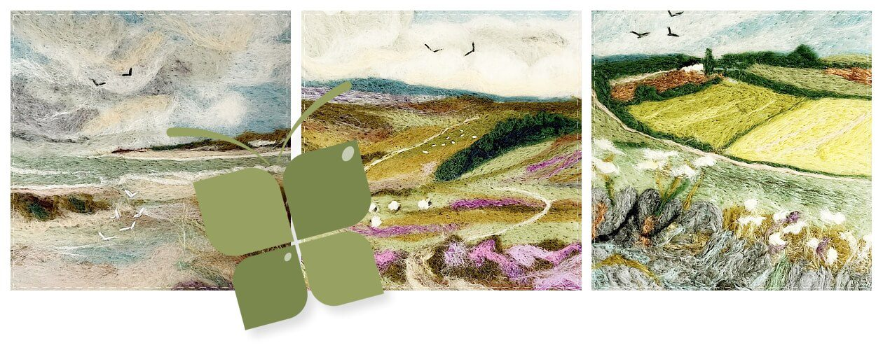 main image showing three needle felt pictures